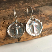 Fine Silver Wax Seal Stamp Earrings, Cross Earrings, Wax Seal Cross, Archaic Earrings, .999 Fine Silver, Kiln Fired, Christian Earrings