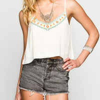Truth Nyc Embroidered Womens Swing Tank Cream  In Sizes