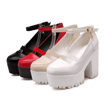 Ankle Straps Chunky Heel Pumps Platform High Heels Women Shoes 2185