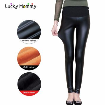 Fashion PU Leather Winter Warm Maternity Pants for Pregnant Women High Waist Black Pregnancy Clothes Pregnant Trousers 2017 New