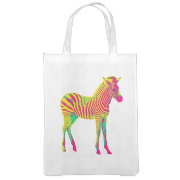 Neon Zebra Baby Animal Psychedelic Funky Retro Grocery Bag