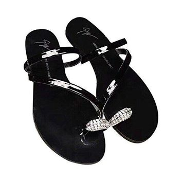 Giuseppe Zanotti Woman's Black Mirror Flat Bottomed Sandals