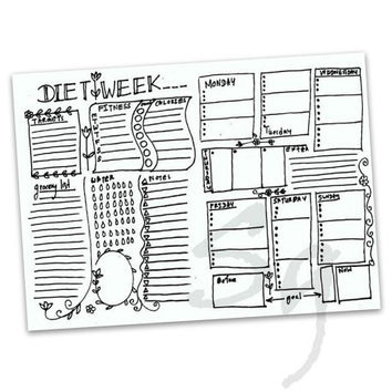 Diet planner Printable weekly fitness meal weight loss page sheet digital download bujo journal healthy tracking food tracker nutrition log