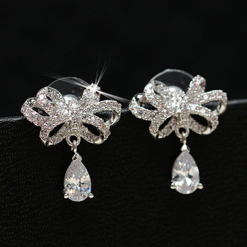 Korean Butterfly Water Droplets Diamonds Silver Earrings [10427403220]