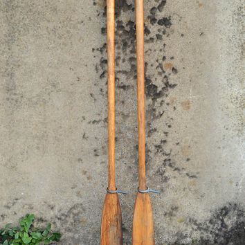 Pair Vintage Oars, Wooden Oars, Rustic Oars, Boat Oars with Oar Locks, Coastal Wall Decor, Beach House Wall Art, Boat Oars, Nautical Art