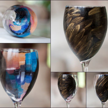 Raven Wing Galaxy Wine Glass