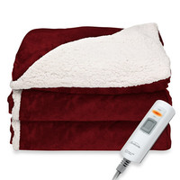 SlumberRest™ Sherpa Electric Reversible Heated Throw in Garnet