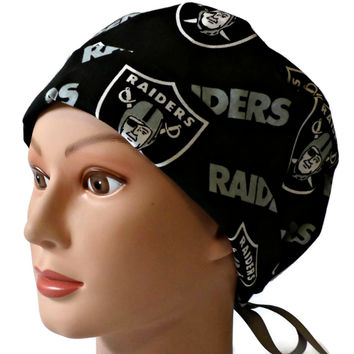 Women's Pixie Surgical Scrub Hat Cap in Oakland Raiders Black