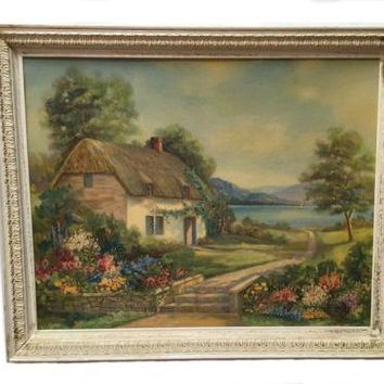 Vintage Cottage By The Sea Framed Print Kent Dhu A-4