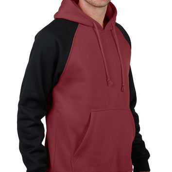 LE3NO Mens Raglan Fleece Hoodie Shirt with Pocket (CLEARANCE)