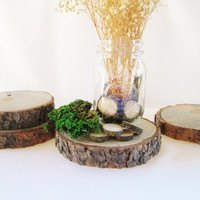 Wood Centerpiece Set of 4, Wedding Centerpieces, Wood Discs, Wood Slices, Rustic Tree Slices