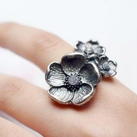 Vintage Adjustable Bronze Three Flowers Cocktail Ring at Online Cheap Vintage Jewelry Store Gofavor