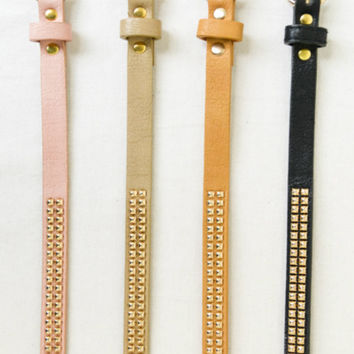 Skinny Gold Studded Belt -- 3 Colors