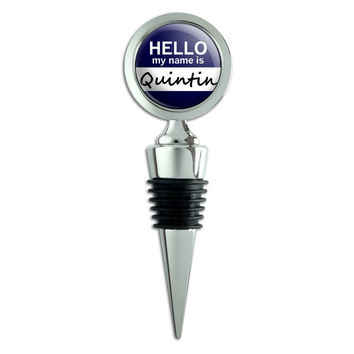 Quintin Hello My Name Is Wine Bottle Stopper