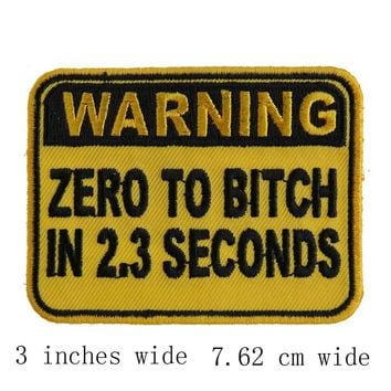WARNING ZERO TO BITCH IN 2.3 SECONDS name tag iron on hook backing funny punk rock embroidered biker motorcycle patches for vest