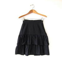 Vintage black cotton skirt. High waist ruffled skirt. black mini skirt. 80s basic black skirt.