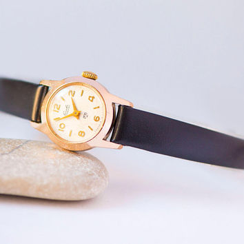 Gold shade women's watch Glory Slava, lady wristwatch small, classic women wristwatch tiny, girlfriend watch gift, new premium leather strap