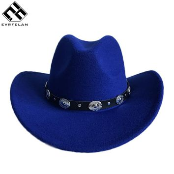 New Design Western Cowboy Hat ForMen And Women Outdoor Big Brim Caps Solid Jazz Hats Size 56-58cm ping