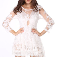 Women's Sexy Black/White Floral Lace Tulle Dress Mini Long Sleeve Dresses_Dresses_Women_The Latest Trends & Fashion Clothing For Women Online Store-www.dressin.com