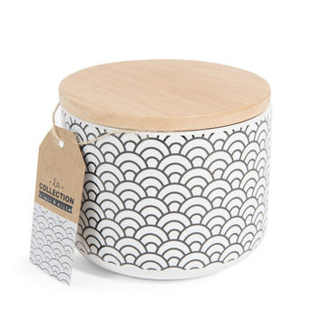 BLACK & WHITE Japanese motif porcelain pot, H 10cm | Maisons du Monde
