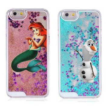 For iPhone 8 7 Plus Cover Cartoon Cute Snowman Mermaid Princess Lovely Liquid Glitter Case