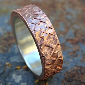 mixed metal wedding ring, bold copper ring promise ring mens wedding band copper silver, square hammered ring, anniversary gift for men
