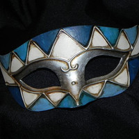 Silver, Cream and Blue Men's Mask