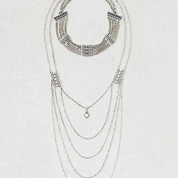 AEO Chain Choker Layered Necklace, Silver