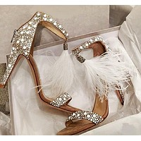 High-heeled diamond sandals for hollow-toed women