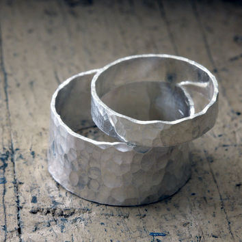 Wedding Ring Set Hammered Bands