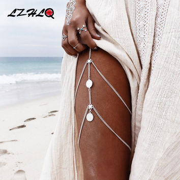 LZHLQ Vintage Multilayer Coin Leg Chain 2017 Fashion Brand Body Jewelry Geometric Metal Women Summer Beach Tassel Thigh Chains