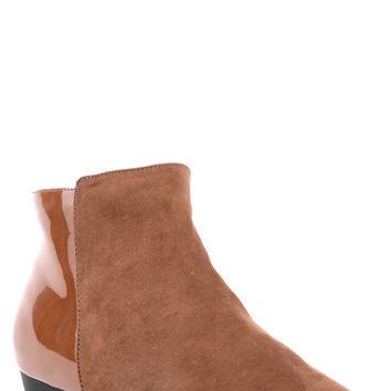 Faux Suede and Patent Chelsea Boots