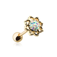 Golden Lotus Opal Sparkle Filigree Cartilage Helix Tragus Earring 18ga Body Jewelry