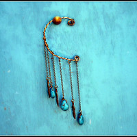 feather and turquoise drop ear cuff by alapopjewelry
