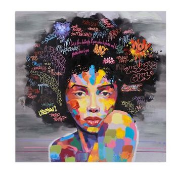 New Graffiti Street Wall Art Abstract Modern African Women Portrait Canvas Oil Painting