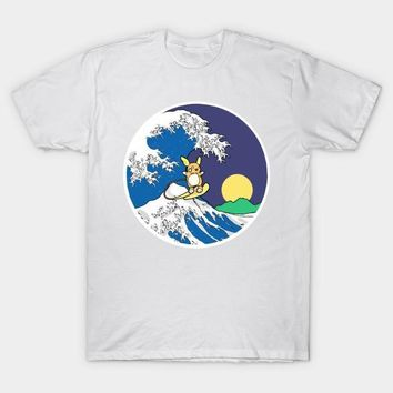 2017 Newest Men Cartoon  White T Shirt Short Sleeve The Great Wave of Alola Night Printing T-Shirt Homme Tees Casual TopsKawaii Pokemon go  AT_89_9