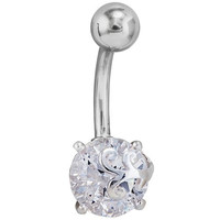 Clear Sparkle 925 Sterling Silver and Stainless Steel Belly Ring
