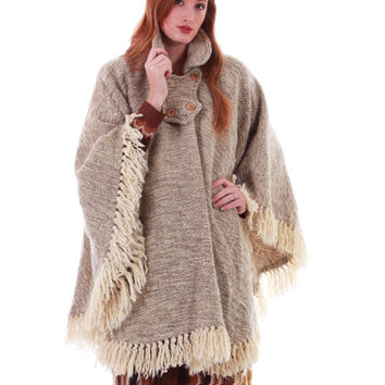 70s Vintage Heavy Wool Cape Beige Fringe Poncho Draped Blanket Boho Hippie Southwestern Winter Coat Clothing One Size Fits All OS