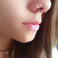 Fake Nose Ring - 22 Gauge Silver Wire - Gift for Her - Piercing - NON PIERCED - Body Jewelry