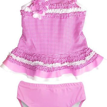 Isobella & Chloe Pink Gingham Two Piece Infant Swimsuit