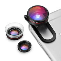 3 in 1 Clip-on Phone Lens Fisheye Lens+12X Macro +24X Macro Lens