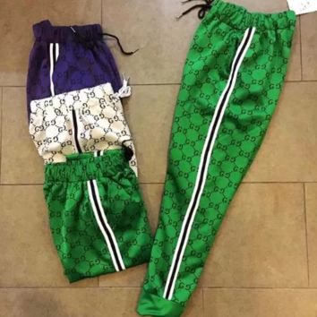 Gucci new couple sports pants Logo full printed breathable spandex cotton trousers casual men and women paragraph trousers