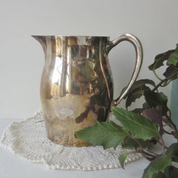 Vintage Silverplate Pitcher, Poole Silver Co EPCA ,Silver Plate Water Pitcher, Made in USA, Silver Patina Vessel Cottage Chic