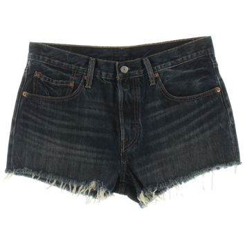 Levi's Womens Frayed Hem Whisker Wash Denim Shorts Blue 30