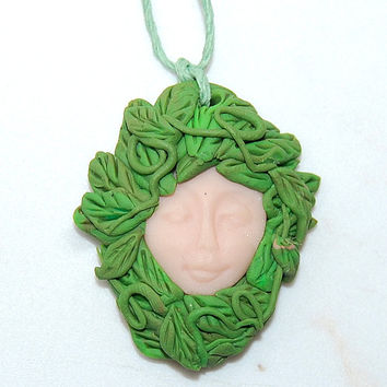 Green Woman Pendant, Goddess,Mother Earth, Earth Mother, Pagan Gaia Art, Gaia Demeter approx. 1.5 Inches