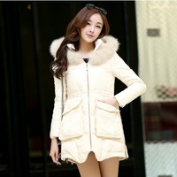 Women : Gathered Waist Down Coat with Pockets YRB0414