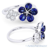 2.04 ct Pear-Shape Sapphire Round Diamond 18k White Gold Right-Hand Flower Ring