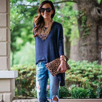 Dark Blue Backless Long Sleeve T-Shirt