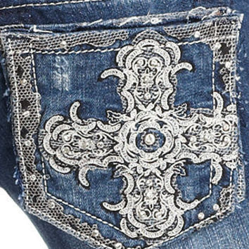 Miss Me Jeans, Bootcut Medium-Wash Rhinestone Embroidered Crosses - Womens Jeans - Macy's