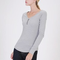 Heather Grey Ribbed Long Sleeve Henley (final sale)